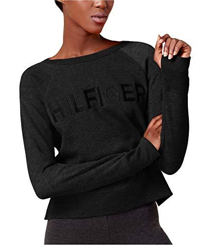 (Tommy Hilfiger Women's Embroidered Logo Sweatshirt (Black, Medium))