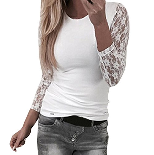 Kangma Women Solid Long Sleeve Lace Stitching O-Neck T-Shirt Pullover Tops Blouse White (Front Plaid Shirt Ruffle)