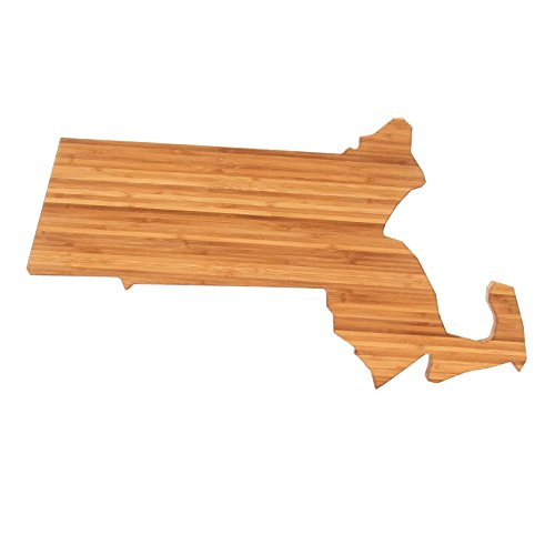 The Cutting Board Company State Shaped Cutting Boards, Natural Bamboo, Massachusetts,