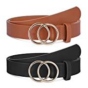 #LightningDeal 2 Pack Women Leather Belts Faux Leather Jeans Belt with Double O-Ring Buckle Size up to 53 inch