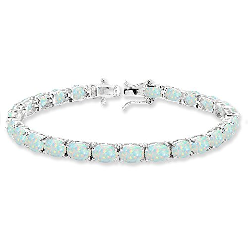 Opal Sterling Silver Tennis Bracelet - Sterling Silver 7x5mm Simulated White Opal Oval-cut Classic Tennis Bracelet