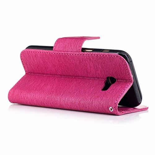 Yiizy Samsung Galaxy A3 (2017) / A320F/FL / A320Y Funda, La Flor De Mariposa Diseño Solapa Flip Billetera Carcasa Tapa Estuches Premium PU Cuero Cover Cáscara Bumper Protector Slim Piel Shell Case Sta Rosa Roja
