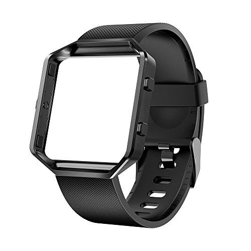 LEEFOX Fitbit Blaze Bands with Frame, Special Edition Silicone Replacement Strap for Fitbit Blaze Smart Fitness Watch Sport Accessory Wristbands Small Large for Men Women Classic and Laser Design