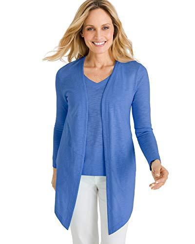 (Chico's Women's Cotton Slub Cardigan Size 4/6 S (0) Blue)