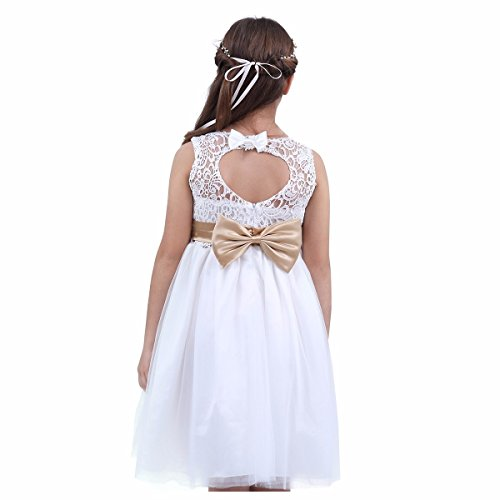 iEFiEL Toddlers/ Big Girls Lace Crochet Heart Cutout Ivory Wedding Flower Girl Dress First Communion Pageant Short Gown White 8
