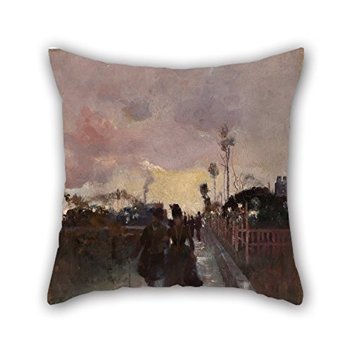 Oil Painting Charles Conder - Going Home (The Gray And Gold) Pillow Cases 16 X 16 Inch / 40 By 40 Cm Gift Or Decor For Lounge,saloon,home Theater,bar,shop,kids Boys - - Johnson Pattern Charles Box