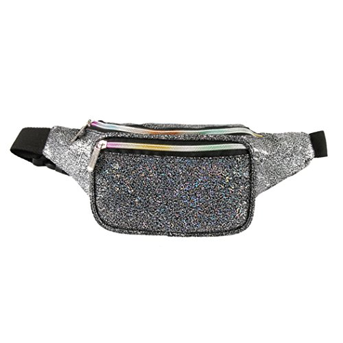 Holographic Fanny Pack for Women - Waist Fanny Pack with Adjustable Belt for Rave, Festival, Travel, Party (Black Gravel) (Mum Don T Come In S And M)
