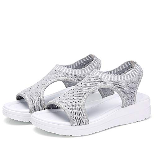 Romanly 2019 Sandals Peep Toe Casual Flat Sandals Ladies Breathable Air Mesh Women Platform Sandals Sandalias,Gray,6 (Newcastle Counter)