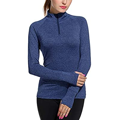 ELESOL Track Jacket Women Half-Zip Pullover Running Jacket Thumb Hole Workout Yoga Shirts S-XXL: Clothing