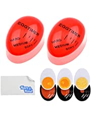 Kare & Kind Egg Timer 2X Pack - Color Changing Indicator - Soft, Medium and Hard Boiled Eggs - Heat Sensitive - Safe Durable Kitchen Aid - Gift and Home Use
