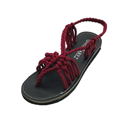 HLHN Women Sandals,Roman Gladiator Ankle Cross Strap Flat Low Heel Flip Flops Open-Toe Shoes Casual Vintage Lady Wine