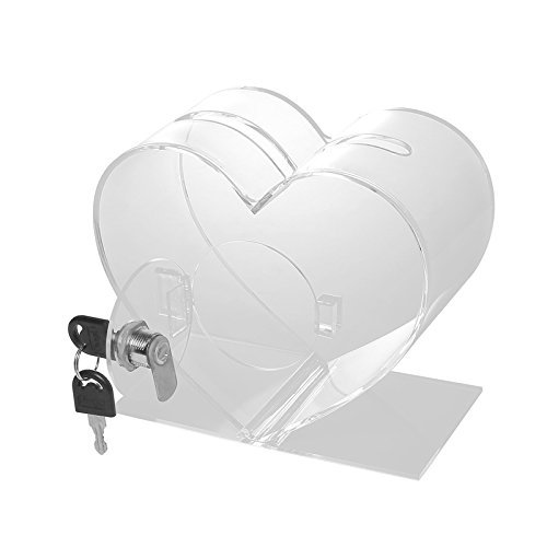 Voting Charity Heart Shape Lockable Charity Money Collection Donation Raffle Box Suggestions Sporting Events Lottery Contests Transparent Acrylic for Fundraising Donation