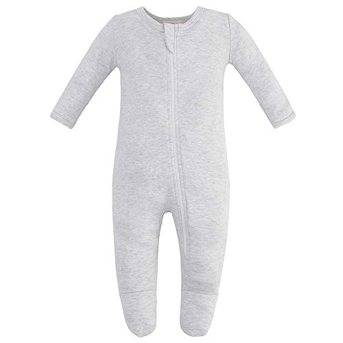 Owlivia Organic Cotton Baby Boy Girl Zip Front Sleep 'N Play, Footed Sleeper, Long Sleeve (Size 0-18 Month)(12-18Months,Gray Melange)