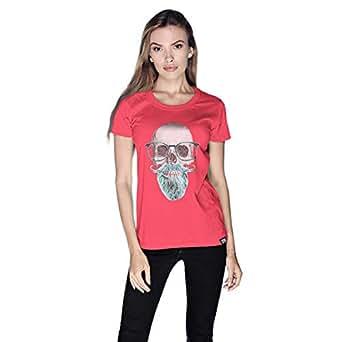 Creo Mint Beard Skull T-Shirt For Women - Xl, Pink