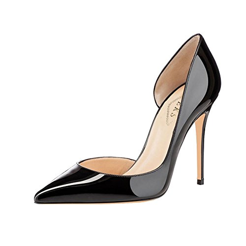 EKS Damen Pointed toe High Heels Kleid-Partei Pumps Damenschuhe Schwarz-lackleder
