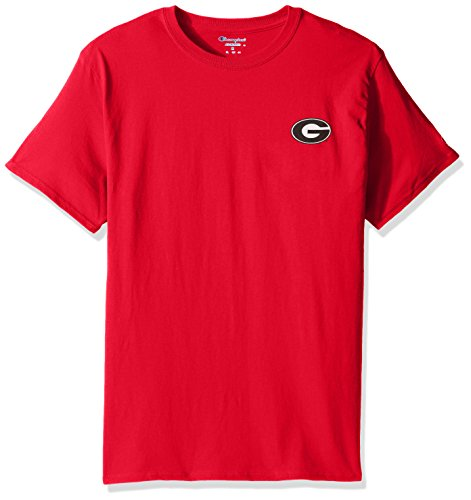 (Champion NCAA Team Tagless Cotton Short Sleeve Front/Back Graphic Tee, Georgia Bulldogs, Large)