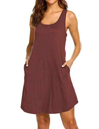 LuckyMore Beach Dresses for Women Short Sexy Flattering Tank Dress with Pockets Wine Red M ()