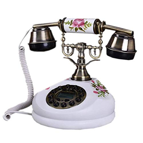 Retro Phone White Hand-Painted Flower Map Solid Wood Metal Button Dial Garden Fashion Creative Seat European Home Office 18cm20cm24cm