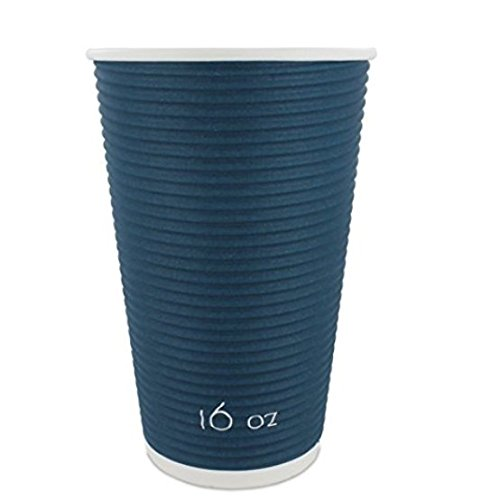 Disposable Insulated To Go Coffee Cups with Lids Made from Renewable Sources [16 oz]