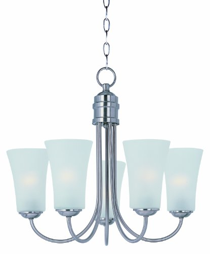 Chandelier 1 Frosted Tier Glass - Maxim Lighting 10045FTSN Frosted Glass Up Chandelier, Satin Nickel