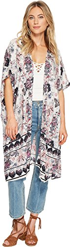 Angie Womens Open Front Dolman Sleeve Printed Kimono Ivory Medium
