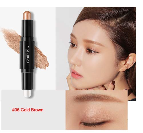 10 Colors Double-Ended Waterproof Liquid Highlighter Eye Shadow Pencil Cosmetic Glitter Shimmer Eyeshadow Powder Pen 06 by WGRTT