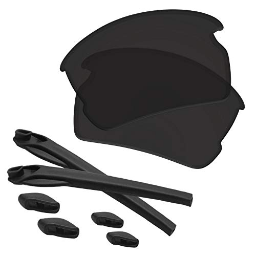 Predrox Dark Black Flak 2.0 Lenses & Rubber Kits Replacement for Oakley OO9295 Polarized
