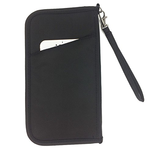 FanCarry RFID Blocking Passport Holder Cover Travel wallet Credit Card Case with Hand Strap ...