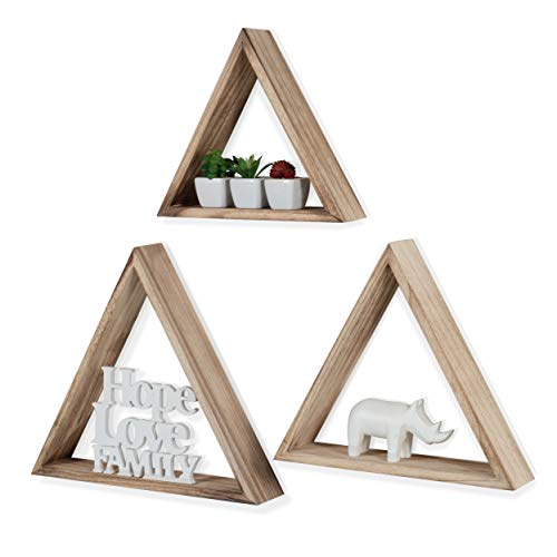 Rustic State Dante Wall Mount Triangle Wooden Box Geometric Floating Shelf Distressed Walnut Varying Sizes Set of 3