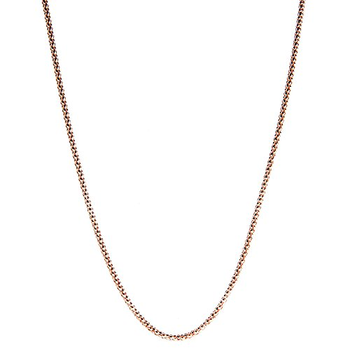 Rose Gold Plated 1.6mm Italian Sterling Silver Popcorn Chain Necklace 16