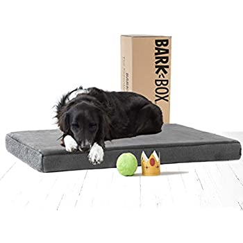 BarkBox Memory Foam Dog Bed | Plush Orthopedic Joint Relief Mattress Machine Washable + Removable Cover; Water-Resistant Lining, Includes Squeaker Toy | Large | Grey