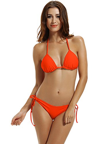zeraca Women's Tie Side Bottom Triangle Bikini Swimsuits (XL18, Neon Orange) ()
