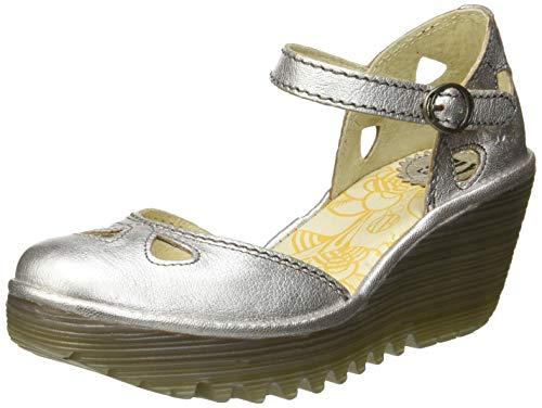 Punta Tacón Yuna Para Plateado Fly 149 Mujer De Cerrada silver London Con Zapatos 6wqYB