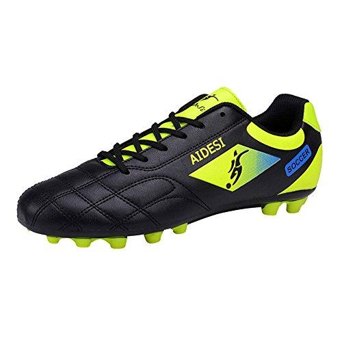 Genda 2Archer Los Zapatos Atléticos No-Deslizadizos del Fútbol de los Hombres Calzan los Zapatos Corrientes de los Zapatos que Suben Negro
