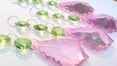 50mm Pink French Chandelier Crystal Ornaments Spring Green Octagons Prism Pack of 4 (50 Baroque Chain Golden)