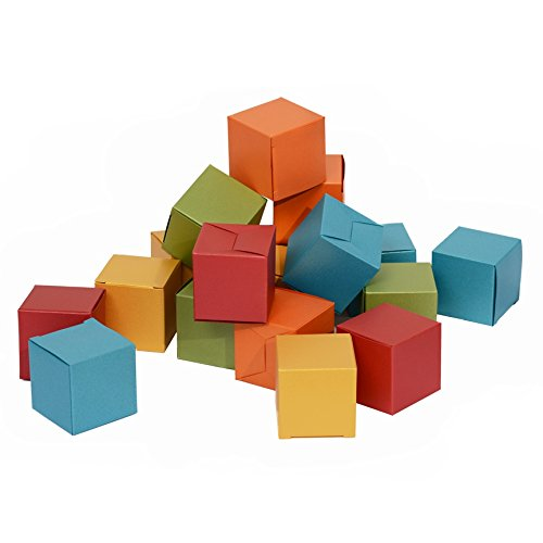 50ct Mini Ring Boxes Gift 2x2x2 - Italy Pearlescent Paper in Assorted Colored (Gold Red Blue Green Orange) ()