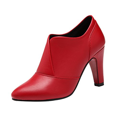 Passionow Women's Comfort Slip-On Sexy Pointed Toe High Heel PU Leather Pump Shoes (6 B(M)US,Red) (Hello Sexy In Spanish)