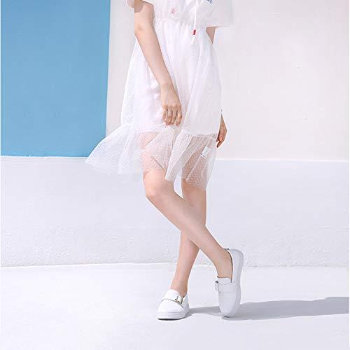 Nero Metallo Scarpe In Comodo Fibbia Bianca Casual Bianco Autunno Personalità Pelle Singola Da Donna 8C7Rq