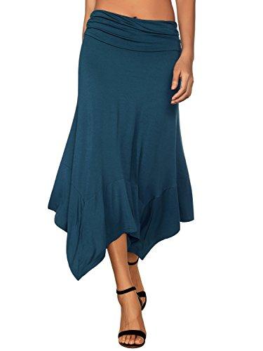 - DJT Women's Flowy Handkerchief Hemline Midi Skirt Large Blue