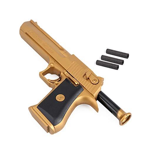 MeetLove Golden Desert Eagle Toy Foam Dart Gun for Kids and Dart Gun Toy
