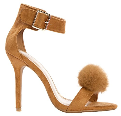 Tan Open Toe Pom Pom Heel High Sandals Strap Ankle Women's LUSTHAVE 6Pwaxv6