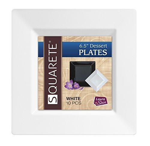 Squarete 6.5'' inch White Dessert Plates Party Plates Hard Plastic Elegant Disposable 10 Dessert Plates Per Package Pack of 4
