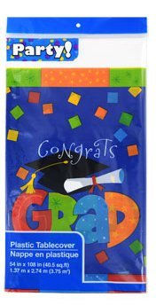 "Congrats Grad Tablecover 54"" X 108"" (Blue with Confetti)"