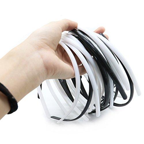 IDS 20pcs Womens Girls Plain Headbands Plastic DIY Hair Bands with Inner Teeth for Women Girls, Black, White -