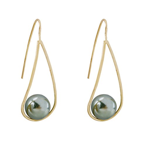 Rakumi Sterling Silver Grey Seashell Pearl Dangle Earrings