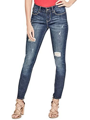 (GUESS Factory Women's Sienna Curvy Skinny Jeans in Dark Destroy Wash)