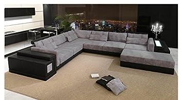 Leder Wohnlandschaft Xxl Schwarz Grau Stoff Sofa Couch U Form