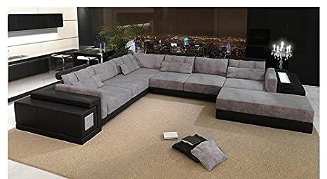 Piel Salón paisaje XXL Negro/Gris Plástico sofá Forma de U ...