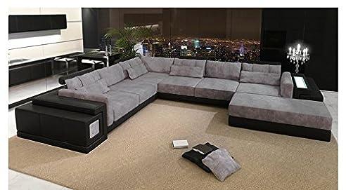 leder wohnlandschaft xxl schwarz grau stoff sofa couch u form designsofa ecksofa mit led - Couch Grau Stoff