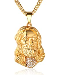 """Halukakah """"GOLD BLESS ALL"""" Men's 18k Real Gold Plated Jesus Pendant Necklace with FREE Cuban Chain 30"""""""